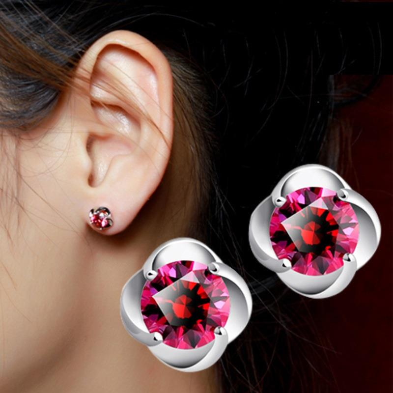 925 Silver Red Stone Flower Stud Earring