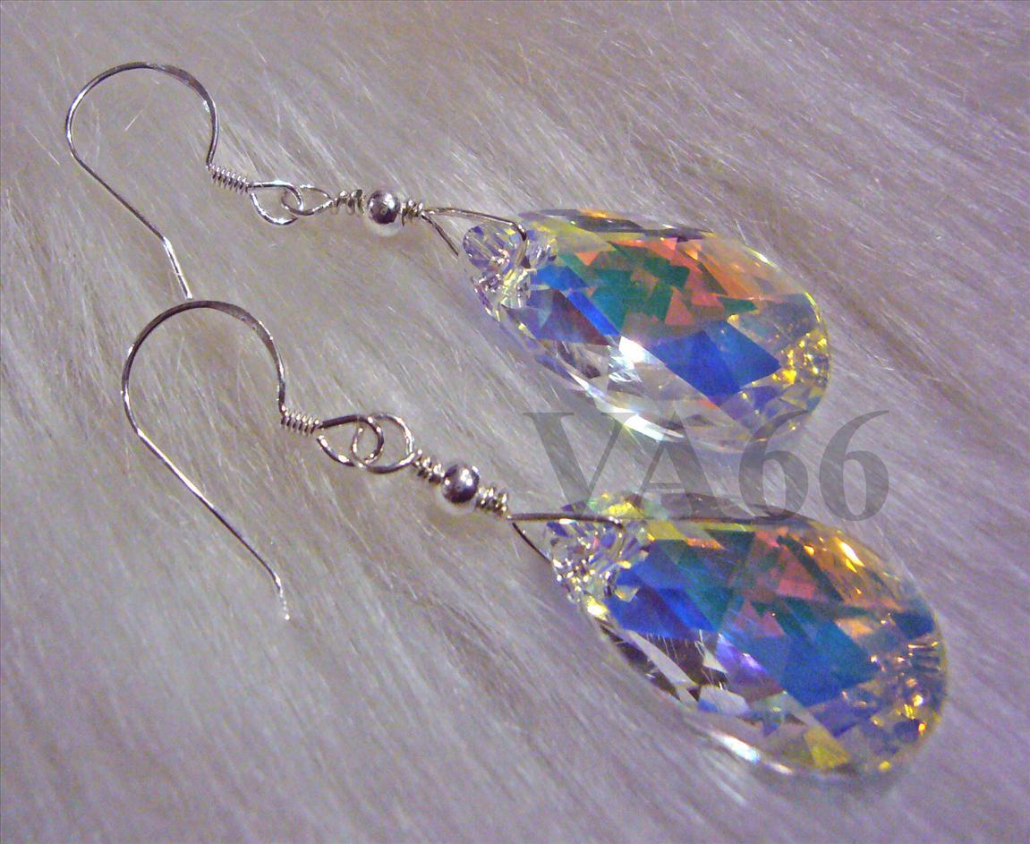 925 Silver Wire Wrapped Swarovski Teardrop Pear Crystal AB Earrings