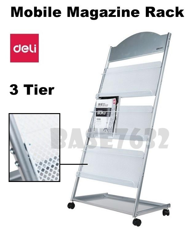 9308 DELI 3 Tier Magazine Newspaper Display Rack Stand Trolley Wheels