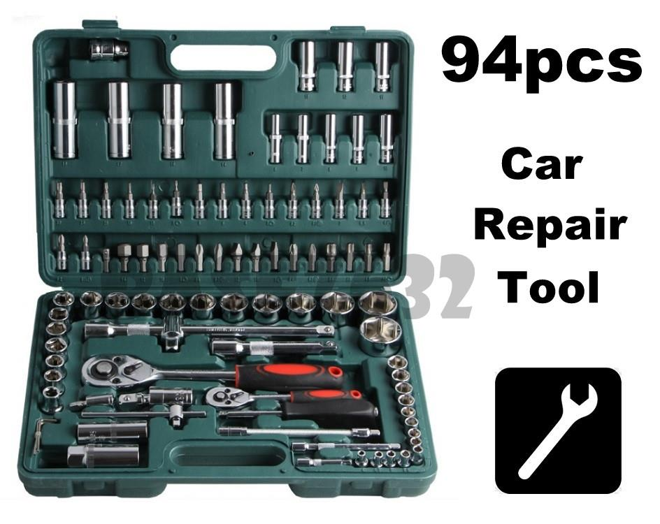 94 pcs  Vehicle Car Emergency Kit Car Repair Tool Kit Socket Set Box