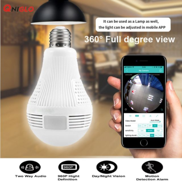 960P Bulb Light IP Camera 360degree Wireless Wifi Camera 1.3MP Home Security C