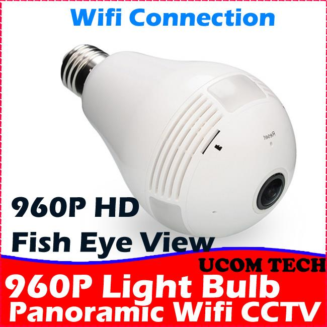 960P Fish Eye Light Bulb Wifi IP Camera CCTV Wifi CCTV Camera Wifi Cam