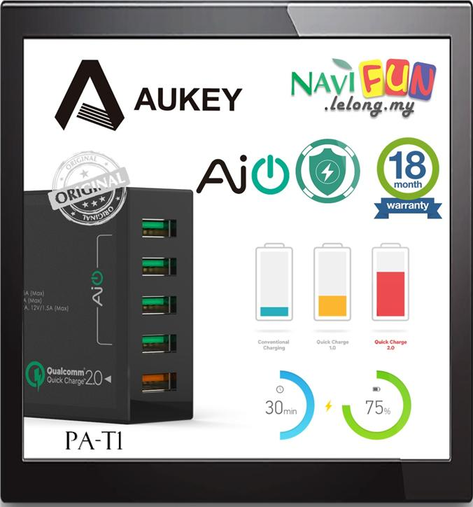 ★ AUKEY AUKEY 54W 5 Port USB Desktop Wall Charger (QC 2.0)