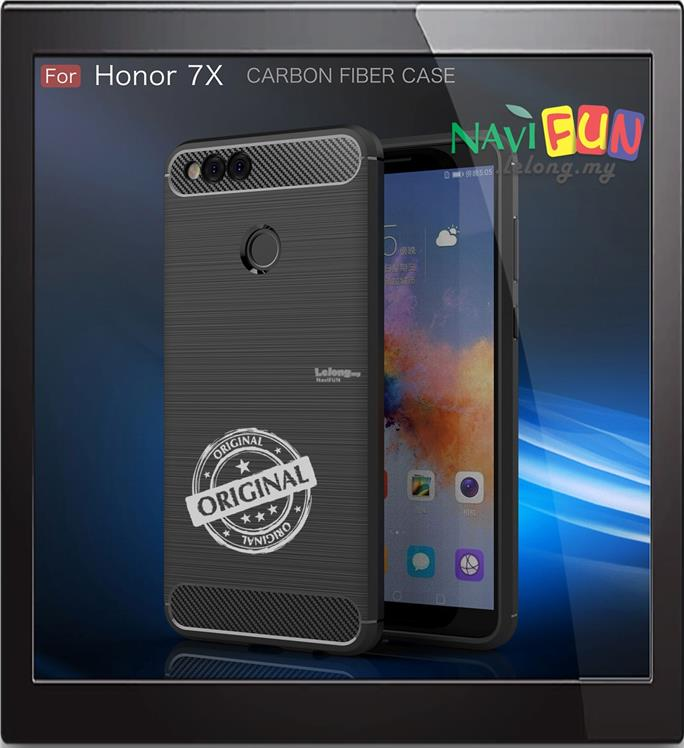 ★ Huawei Honor 7X Rugged TPU Slim Armor Case Carbon Fiber