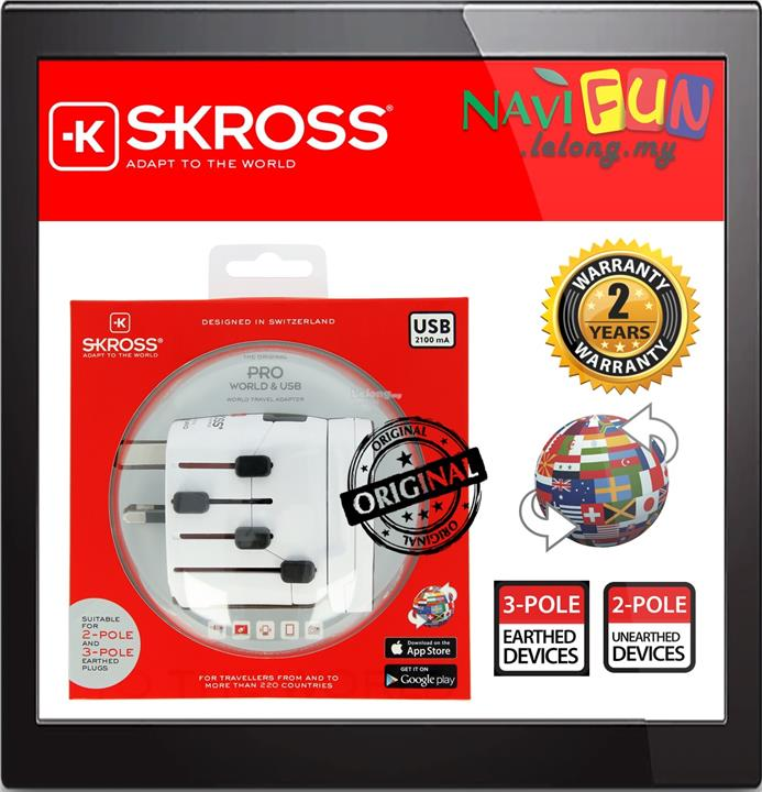 ★ SKROSS PRO - World & USB Travel Adapter