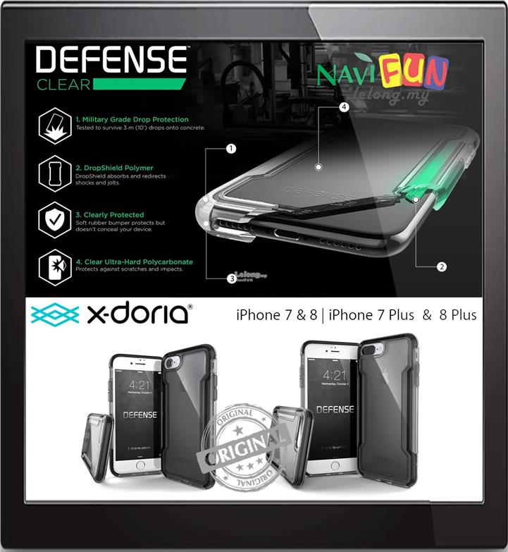 new arrivals 11f05 b36bc ★ X-Doria Defense CLEAR case iPhone 7 / 8 / 7 Plus / 8 Plus