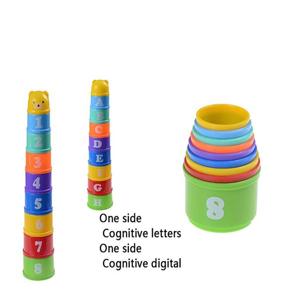 9in1 Letter & Number Colorful Jenga Bear Stack Cup Toddler Baby Educat