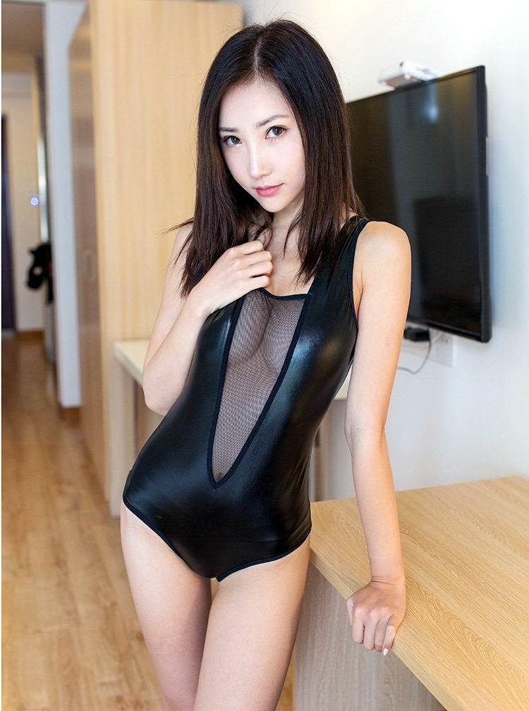 A006 SEXY PU LEATHER FISHNET SUIT (Sexy Lingerie) Women Dress