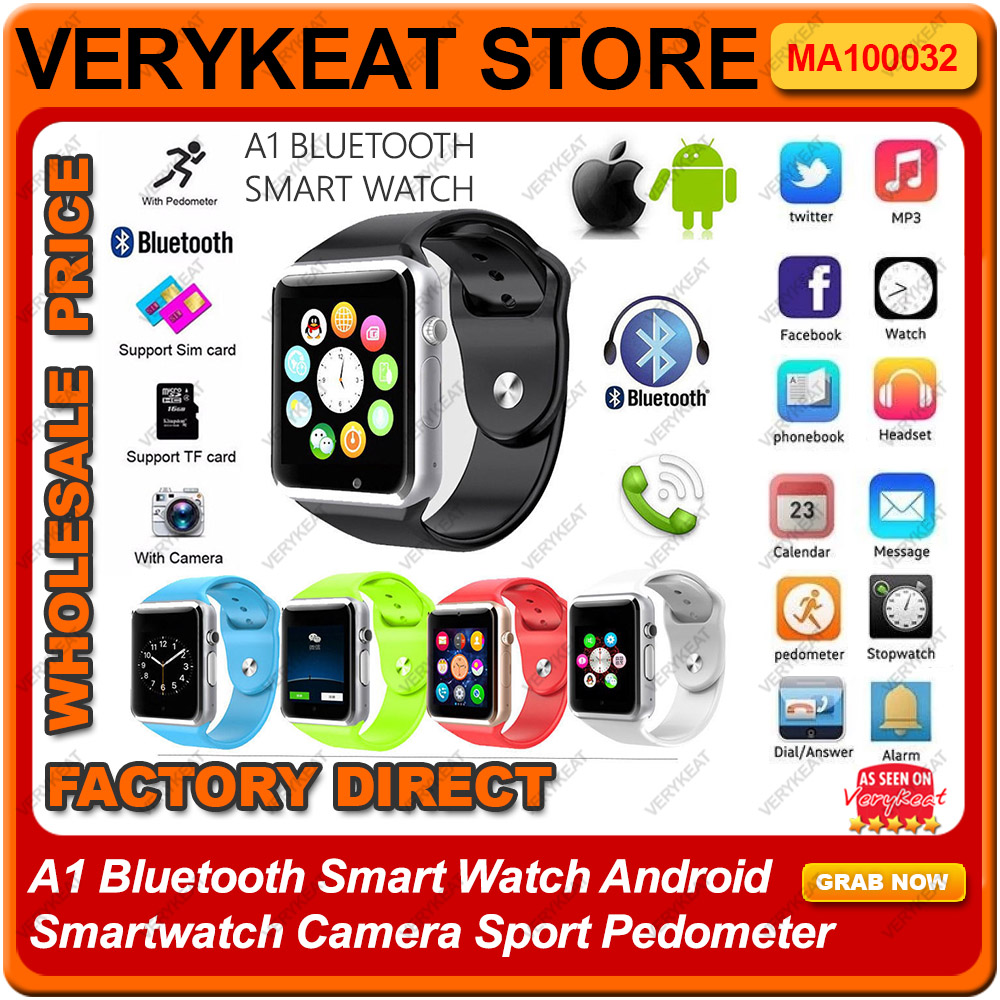 A1 Bluetooth Smart Watch Android Smartwatch Camera Sport Pedometer
