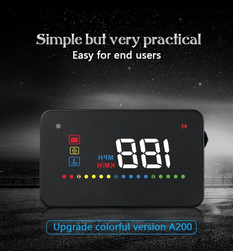 A200 3 inch HUD Head Up Display with OBD2 Interface Plug & Play Car