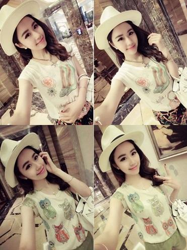 A2746 Korean Fashion Cartoon Print Slim T Shirt