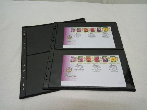 A28 TACC Plastic Stock Pages, BLACK, Extra Wide for FDC PMG 2-way 10pc