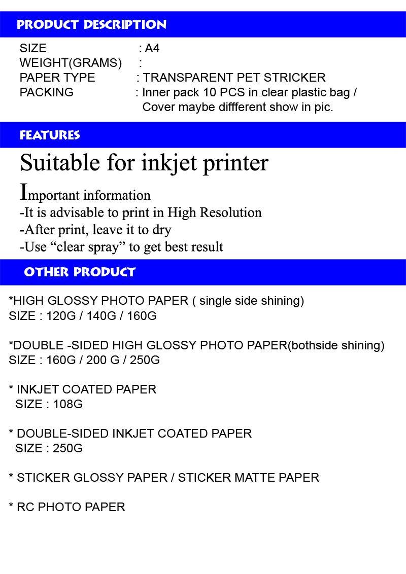 A4 Clear / transparent ( PET) Sticker Paper 10 pcs