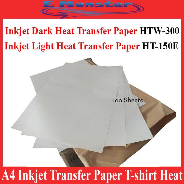 A4 Dark / Light Inkjet Transfer Paper T-shirt Heat Press x100 Sheet