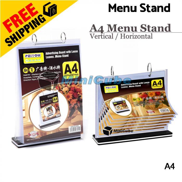 A4 Paper Table Menu Stand with 6 Sleeves Vertical Horizontal