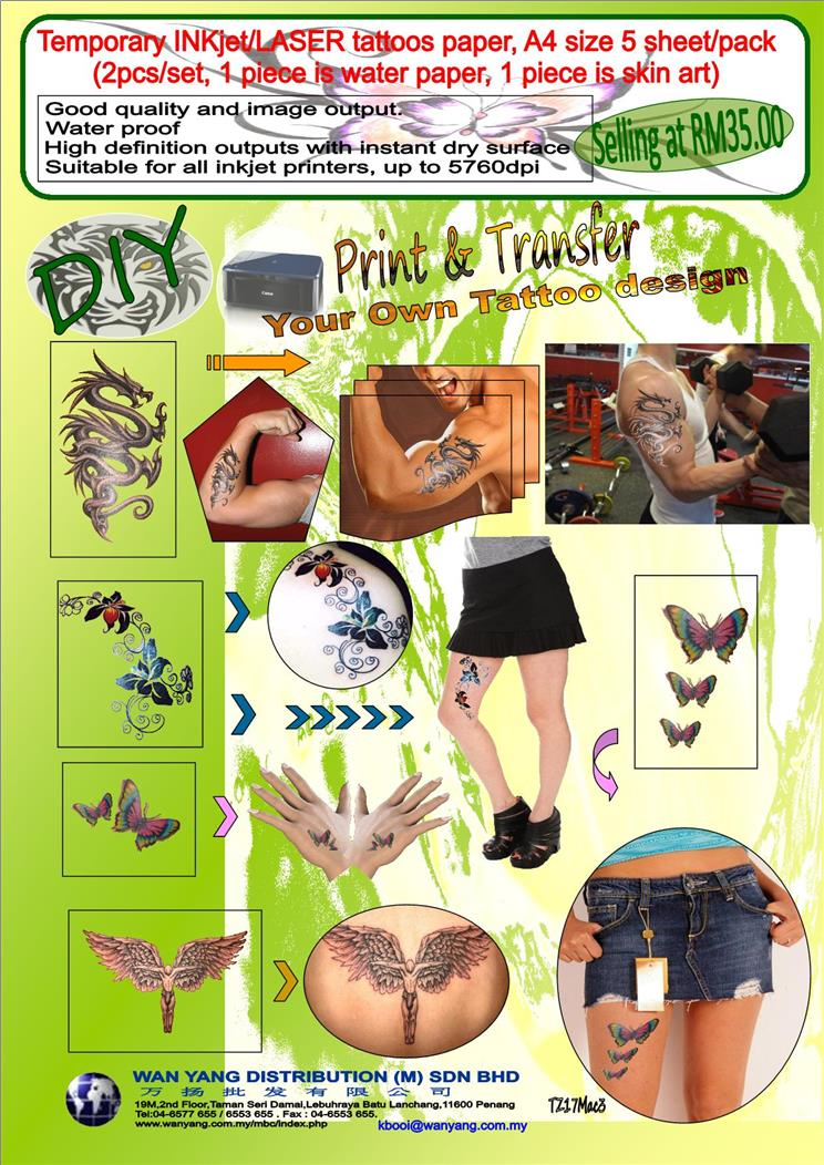 picture relating to Printable Temporary Tattoo Paper named A4 dimension ,Short-term inkjet/LASER tattoos paper, 5 sheet/pack