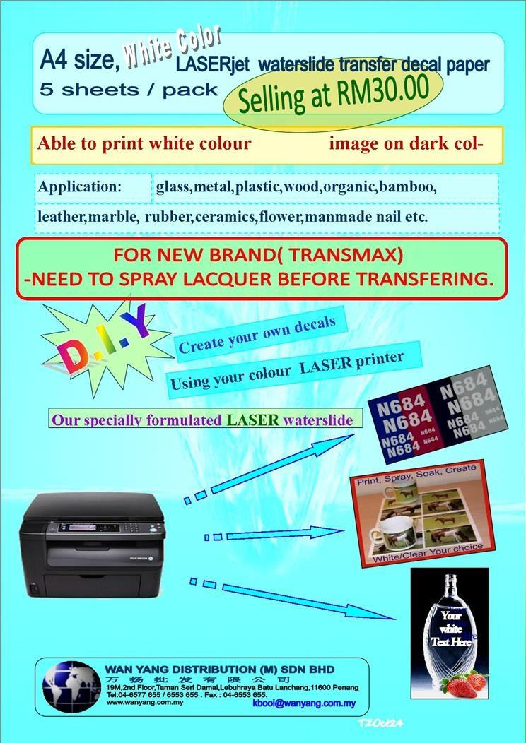 A4 size, White  color Laser  waterslide transfer decal paper 5 shts