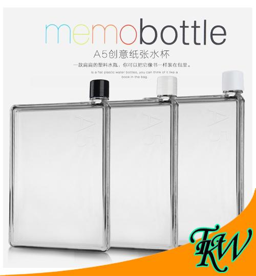 A5 Memo Water Bottle Clear Tritan 750ml Durable Slim Posh Leak Proof