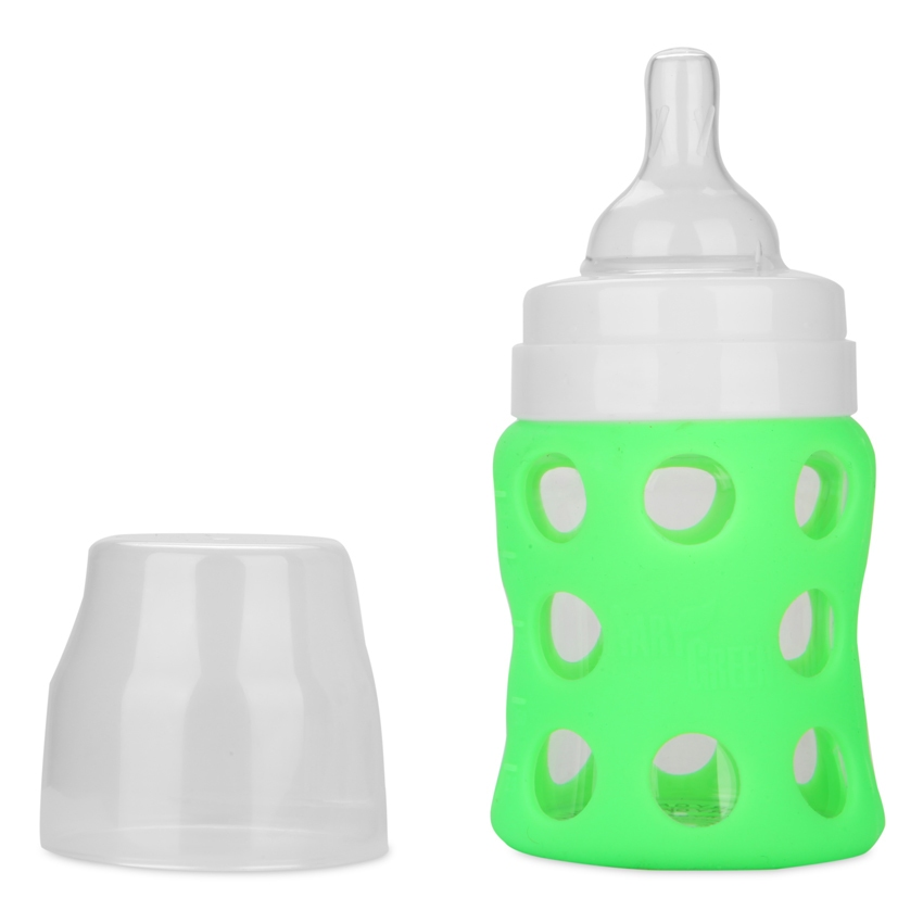 AaryBaby Baby Borosilicate Glass Bottle 125ml Green