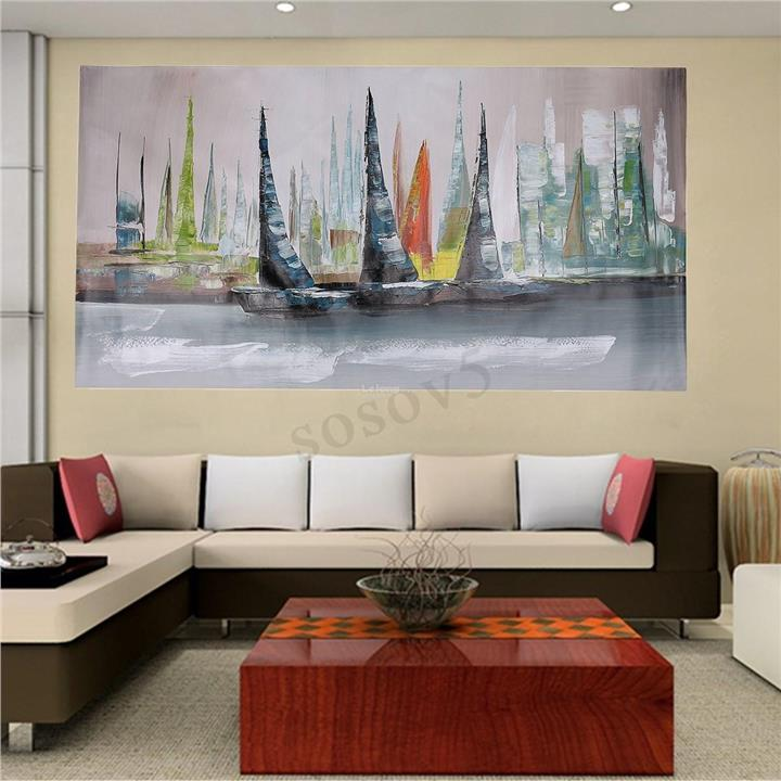 Abstract Large Home Wall Decor Modern Boat Painting On Art Canvas (No