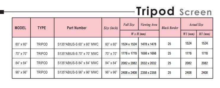 Abtus KTC88 96 x 96 ( 8 x 8 feet ) Tripod Projector Screen