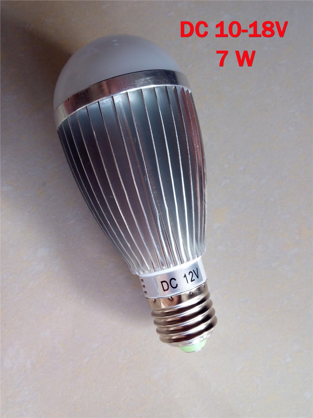 AC / DC 12V 7W E27 LED Bulb Daylight(White) Super Bright&Long Life