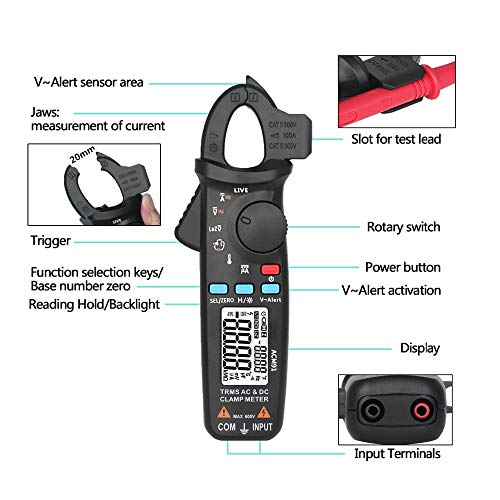 AC-DC Current Digital Clamp-Meter - 100A 6000-Counts Low Impedance Voltage 1 m