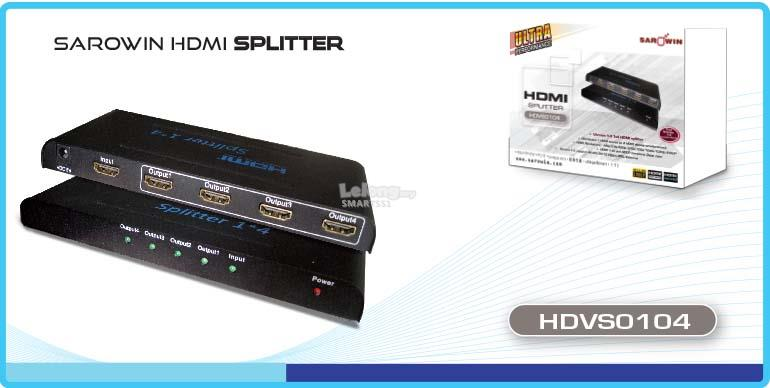 AC. SAROWIN SPLITTER 1P IN TO 4P OUT HDMI V1.4 HDVS0104