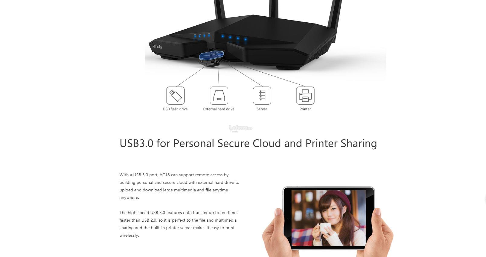 Tenda AC18 AC1900mbps Wireless WiFi Router