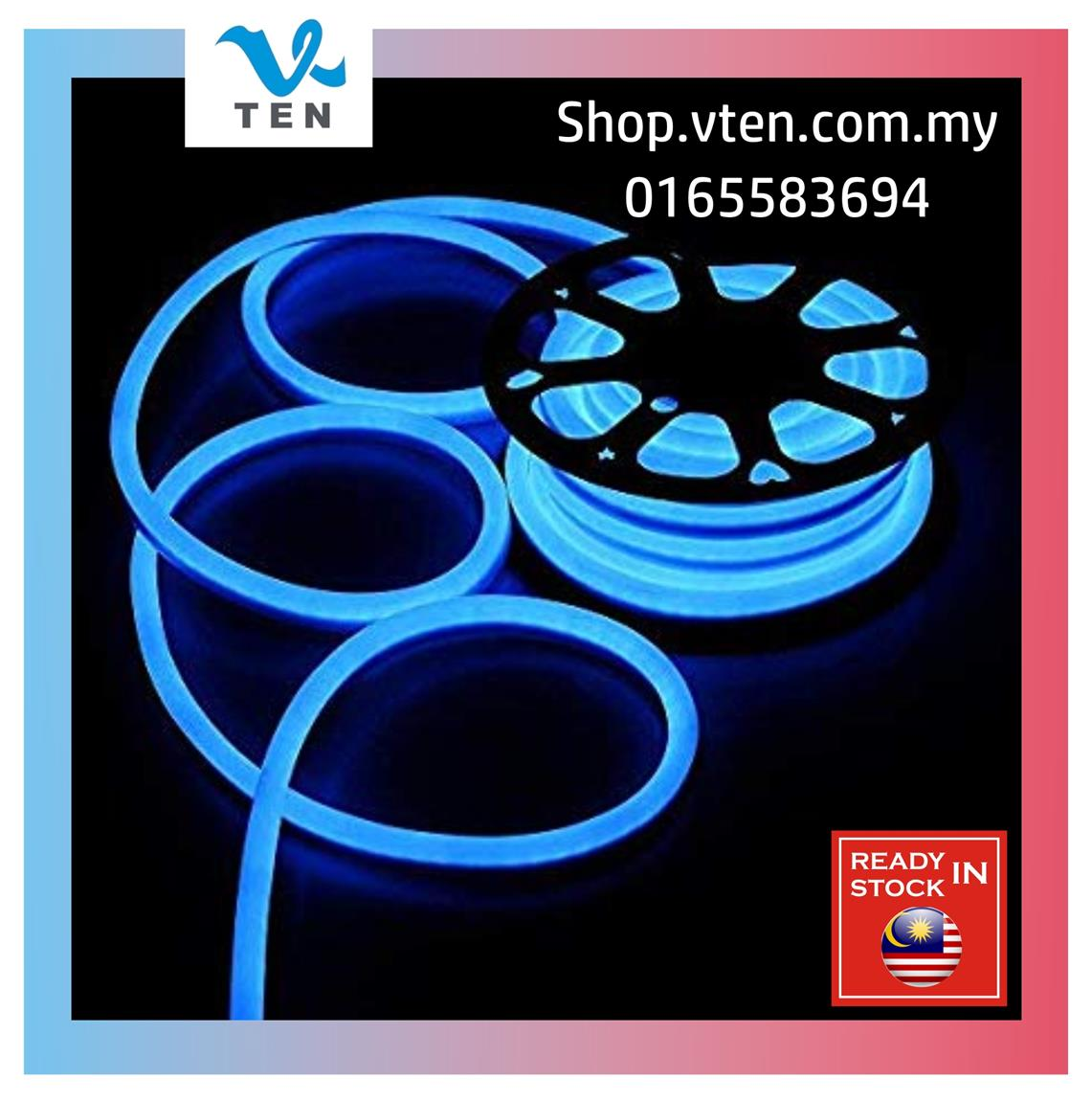 AC220~240V Waterproof Blue Neon LED Strip 1 meter with Power adapter