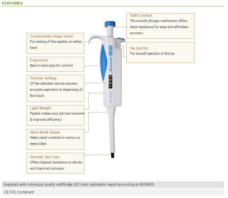 Accumax, Accumax Pro Variable Volume Micropipette