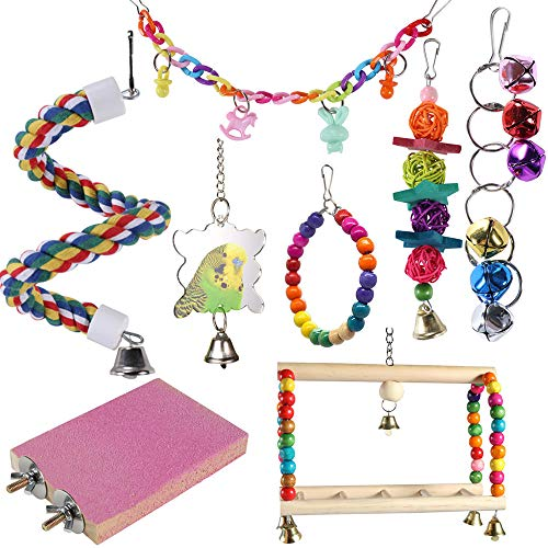 ACEONE Bird Toys Parrot Swing Toy with Colorful Wooden Beads Bells and Pet Bir