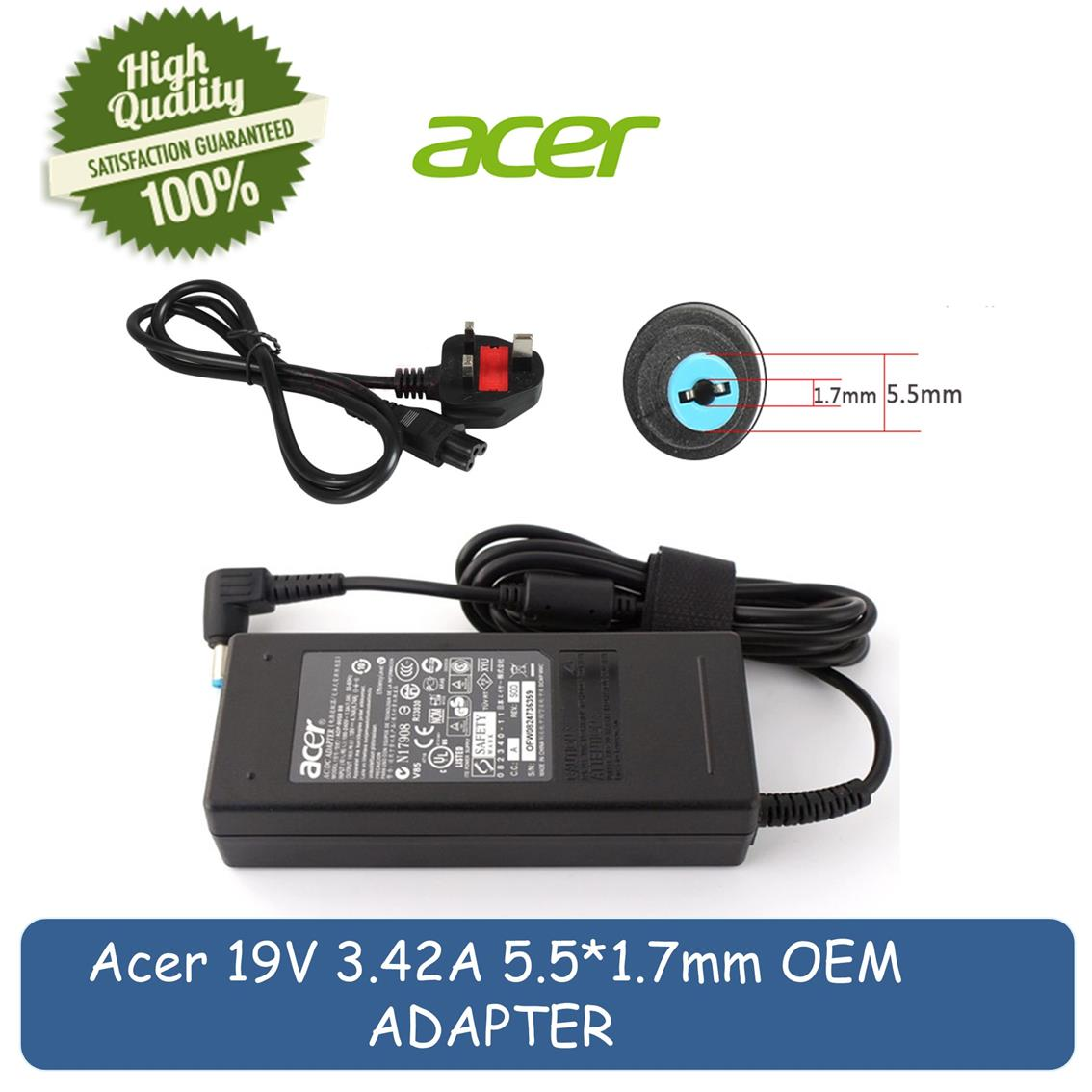 ACER 19V 342A 5517mm 65W Laptop AC Charger Adapter
