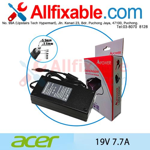 Acer 19V 7.7A TravelMate 242FX 243FX 243XC 245 Adapter Charger