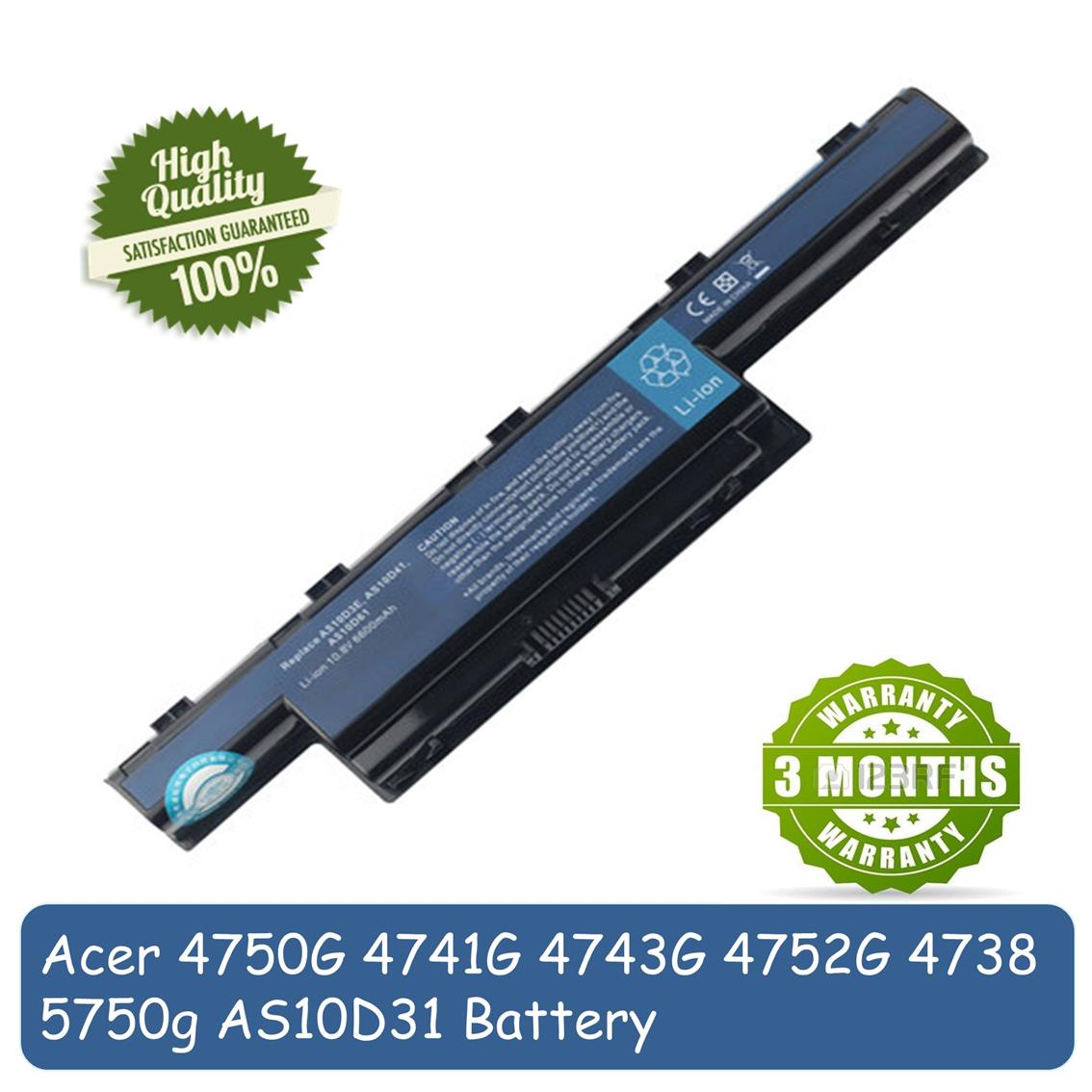 Acer 4741G 4750G 4752G 5750G 4738 4743G AS10D31 Laptop Battery