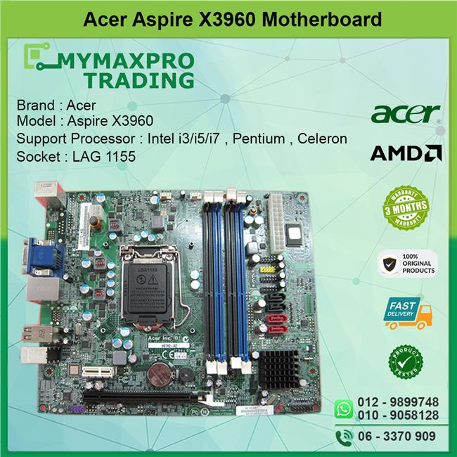 Acer Aspire X3960 AX3960 Motherboard s1155 DDR3 MBSFF07001