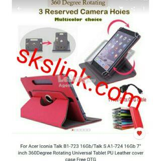 Acer Iconia Talk 7 phablet case b1-723/724+free OTG Cable/stylus+cover