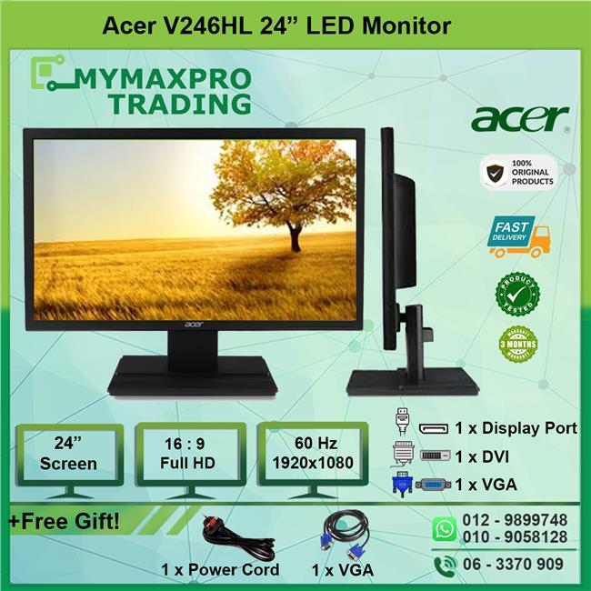 Acer V246HL 24' LED Monitor 24-inch Full HD 1080p VGA DisplayPort DVI