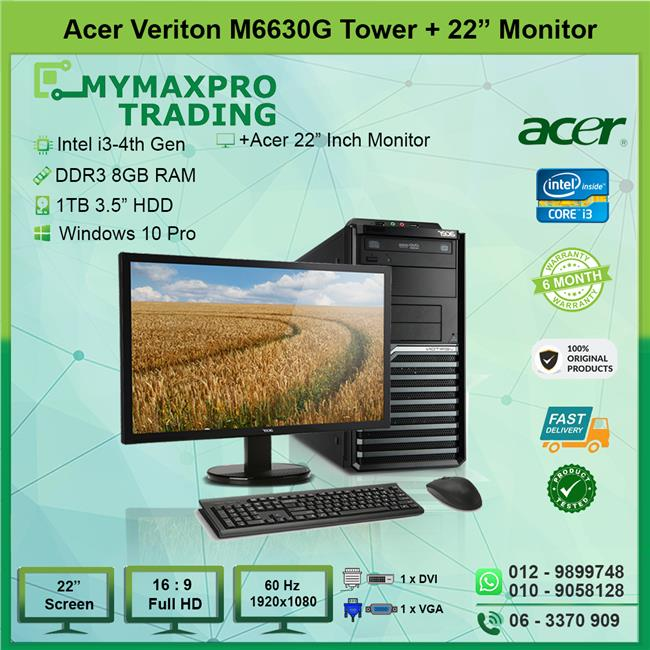 Acer Veriton M6630G MT i3 4th Gen 8GB 1TB HDD + 22' LED W10P