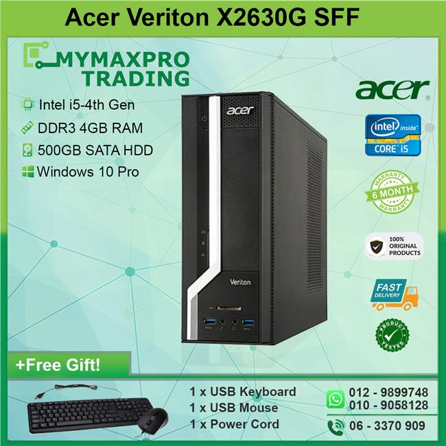Acer Veriton X2630G SFF i5 4th Gen 4GB RAM 500GB HDD Desktop Win10Pro