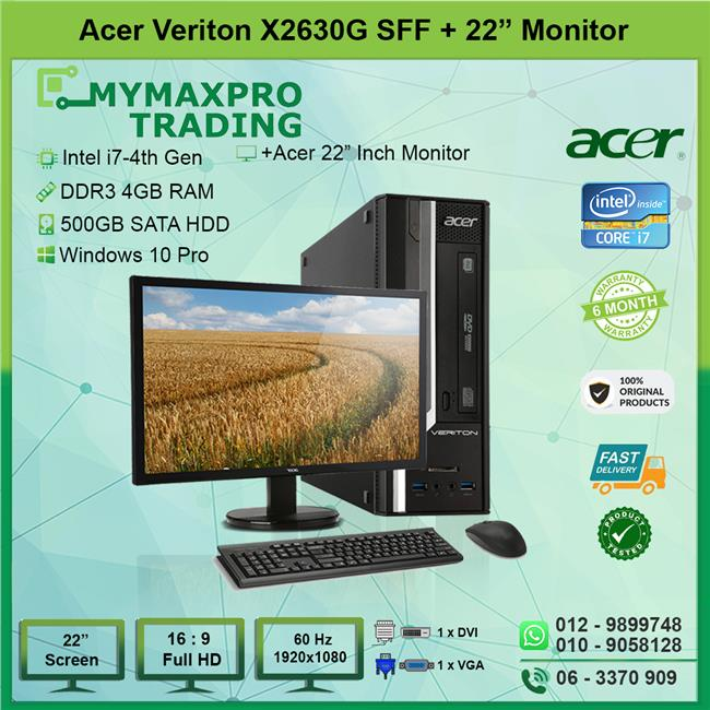 Acer Veriton X2630G SFF i7 4th Gen 4GB 500GB HDD + 22' Monitor W10P