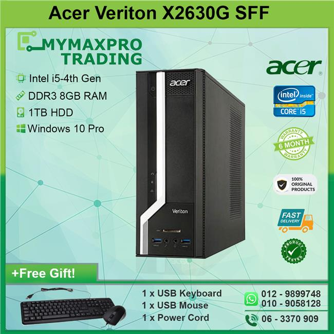 Acer Veriton X2630G SFF Intel Core i5-4th Gen 8GB RAM 1TB HDD Win10Pro