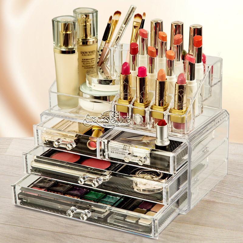 Acrylic Makeup Organizer Storage Box Case Cosmetic Jewelry Drawer Case