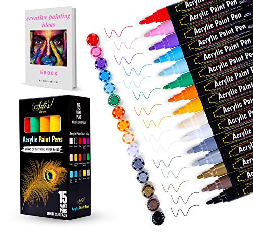 Acrylic Paint Pens for Rocks Painting Ceramic, Wood, Glass Canvas, Water Based