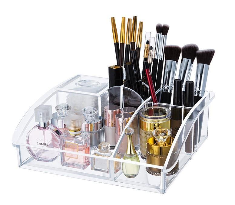 Acrylic Tray Cosmetic Organizer Cotton Pad Makeup Brush Holder Storage. U2039 U203a
