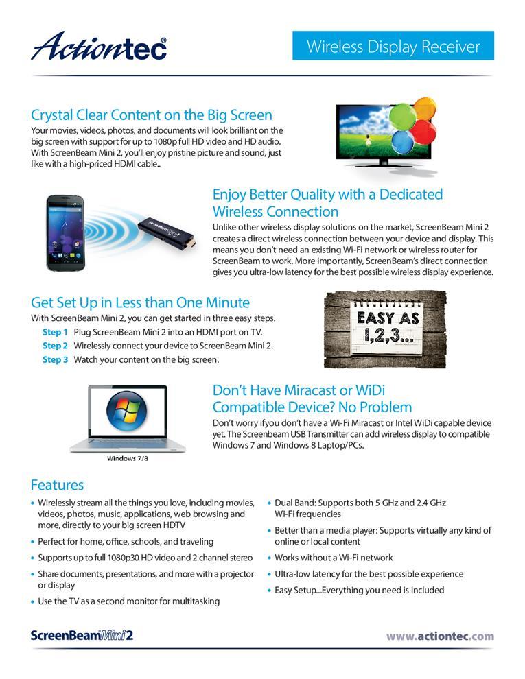 Actiontech Screen Beam Mini 2 Wireless Display Dongle (SBWD60A)
