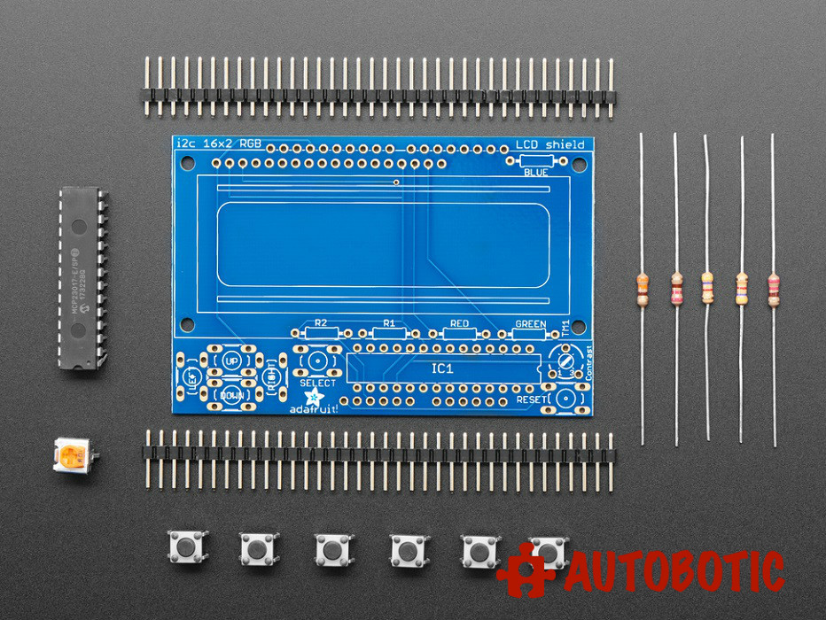 Adafruit I2C Controlled + Keypad Shield Kit for 16x2 LCD
