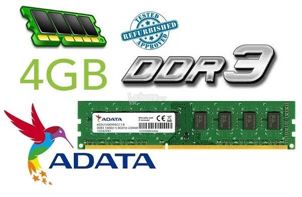ADATA 4GB DDR3 1600 PC3 12800 1.5V PC Memory RAM 1333 compatible