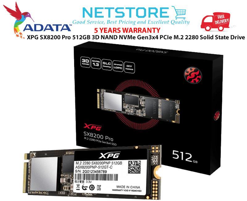ADATA XPG SX8200 Pro 512GB 3D NAND NVMe PCIe M 2 SSD Solid State Drive