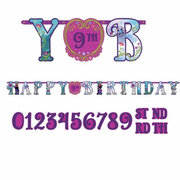 Add An Age Frozen Happy Birthday Jumbo Letter Banner 10ft